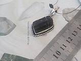 Шерл кулон с натуральным черным турмалином в серебре Индия, фото 5