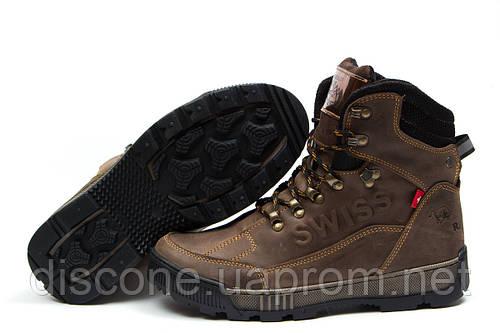 Зимние ботинки на меху Switzerland Swiss, коричневые (30643), р.  [  40 42 43 44  ]