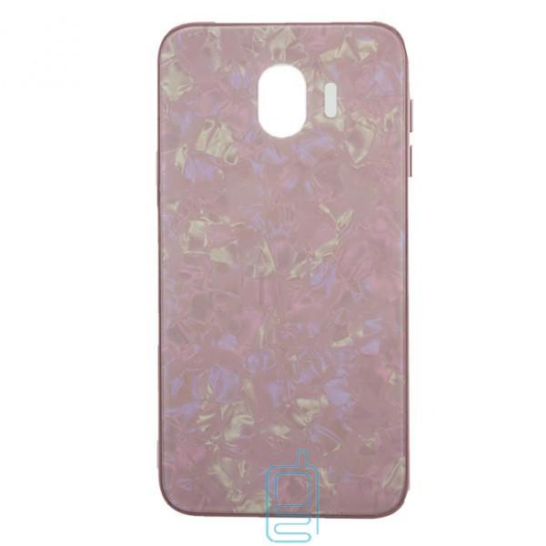 Чехол накладка Glass Case Мрамор Samsung J4 2018 J400 розовый
