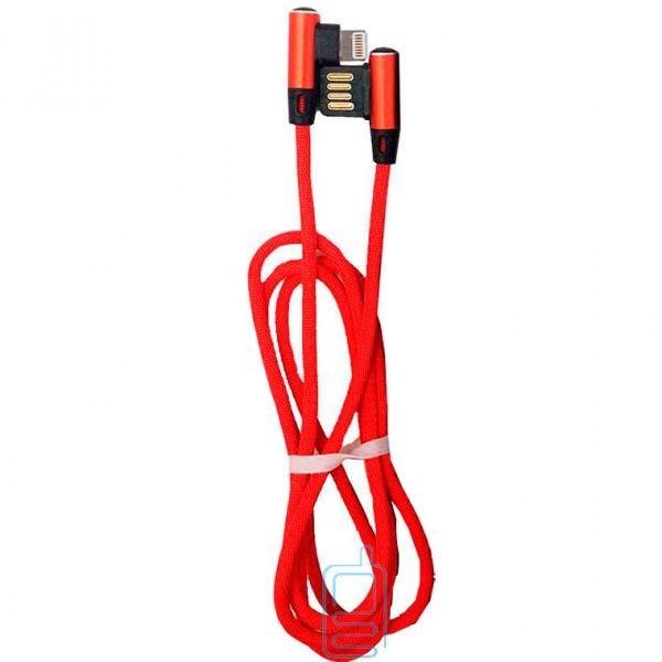 Кабель USB - Lightning (тканевый боковой) двусторонний 1m красный