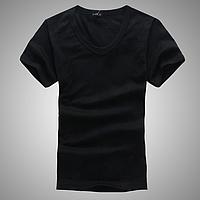 Футболка мужская облегающая V - горловина черная стрейч