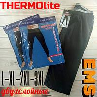 Мужские термо кальсоны подштанники двухслойные EMS THERMOlite чёрные ростовка (L-XL-2XL-3XL)  МТ-1467