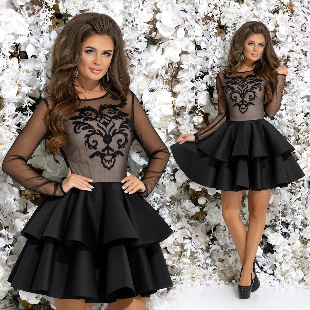 7d43ad4aec4306e Женское нарядное вечернее платье с вышивкой по сетке 42-46р. (4расцв ...