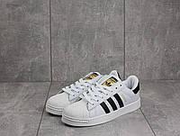Кеды B529-10 (Adidas SuperStar) (весна-осень, женские, кожа прессованая, бело-черные)