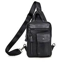 Сумка рюкзак через плечо City 0017 кожаный Черный