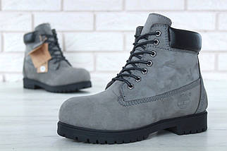 Мужские (женские) зимние ботинки Timberland 6 inch Grey/Black с натуральным мехом, фото 3