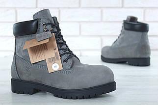 Мужские (женские) зимние ботинки Timberland 6 inch Grey/Black с натуральным мехом, фото 2