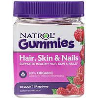 Natrol, Жевательные таблетки, Для волос, кожи и ногтей, Малина, 90 штук