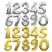 Цифры шарики Серебро и золото 0,1, 2, 3, 4, 5, 6, 7, 8, 9 / 1 метр / 1 шт