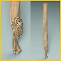 Ножка кабриоль с удлиненным основанием царги. Опора для шкафа, комода, кровати из дерева. 850 мм