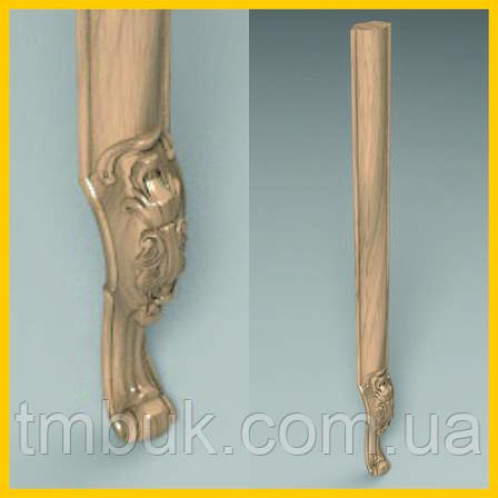 Ножка кабриоль с удлиненным основанием царги. Опора для шкафа, комода, кровати из дерева. 850 мм, фото 2