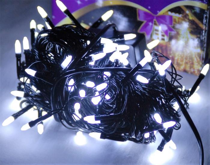 Гирлянда светодиодная LED 100 белый на черных проводах 122723