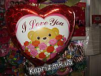 Шар Мишка с розами  ILY, надутый гелием