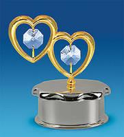 Хрустальная шкатулка с позолотой Сердечки