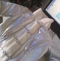 Модный новогодний костюм Снегурочки с коротким пальто голограмма серебро 42-48 р, фото 3