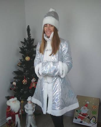 Модный новогодний костюм Снегурочки с коротким пальто голограмма серебро 42-48 р, фото 2