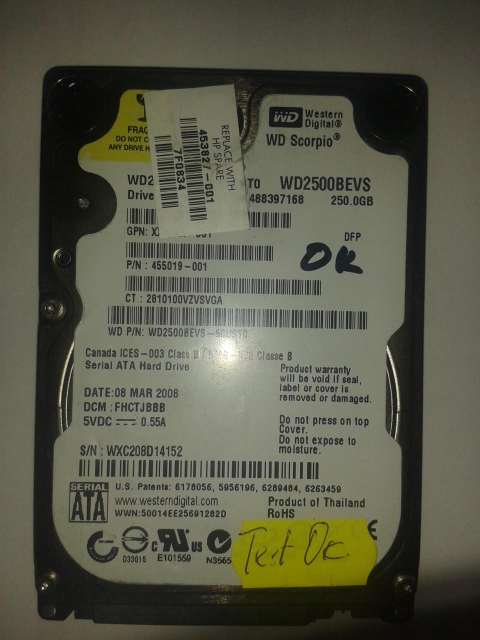 "Жесткий диск Western Digital 250GB 5400rpm 8MB WD2500BEVS SATA, 2.5"" б/у"