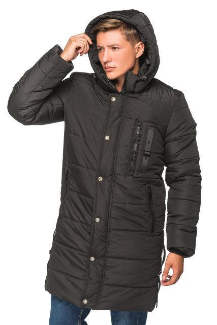 Зимняя удлиненная мужская куртка Эрик чёрный (46-56)