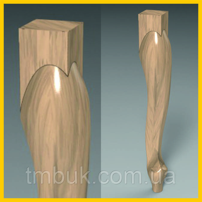 Ножка классическая кабриоль для стула, кресла, столика, деревянной мебели. Резная из дерева. 500 мм