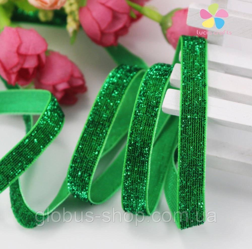 Бархатная лента, 10 мм зеленая