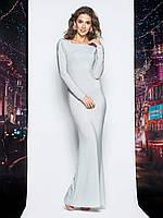 Силуетне плаття в підлогу з відкритою спиною сріблястий розмір 44-46 48-50  52 abccc3cea4193