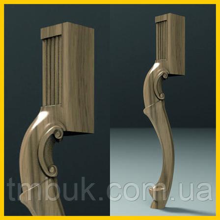 Массивная резная нога для стола из дерева. Форма кабриоль с квадратным основанием. Ясень. 760 мм, фото 2