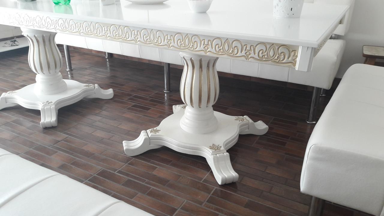 Стол гостиный белый с патиной 200х100х75