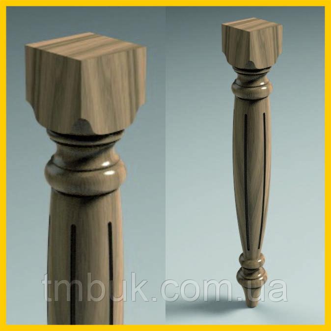Ножка для стола, консоли. Круглая с квадратным основанием. Резьба с каннелюрами. Дерево. 780 мм