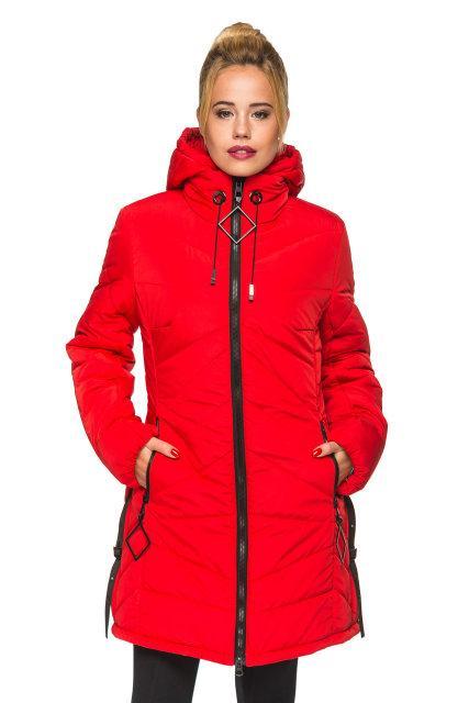 Модная женская куртка Амина красный (44-52)