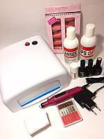 Стартовый набор для маникюра гель лаком Kodi Professional с лампой УФ 818 36 W и фрезером.
