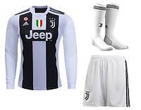 Детская футбольная форма Juventus Ювентус с длинным рукавом, домашняя, сезон 2018/19( гетры отдельно)