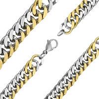 Эффектная мужская цепь в комбинированном цвете из медицинской стали 60см 10мм