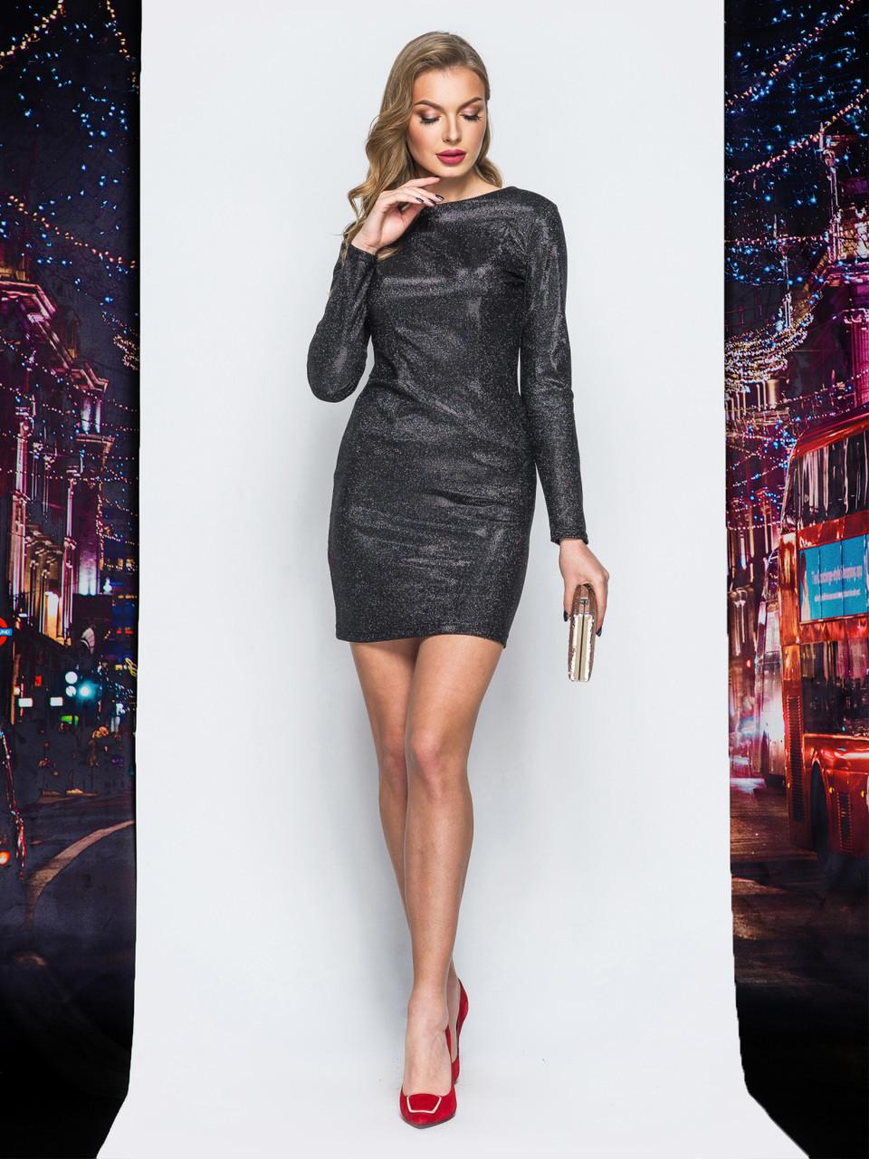 db83e8b8444bed Силуетне плаття-міні з люрексу з вирізом по спинці чорний розмір 44 46 -  ODUVANCHYK