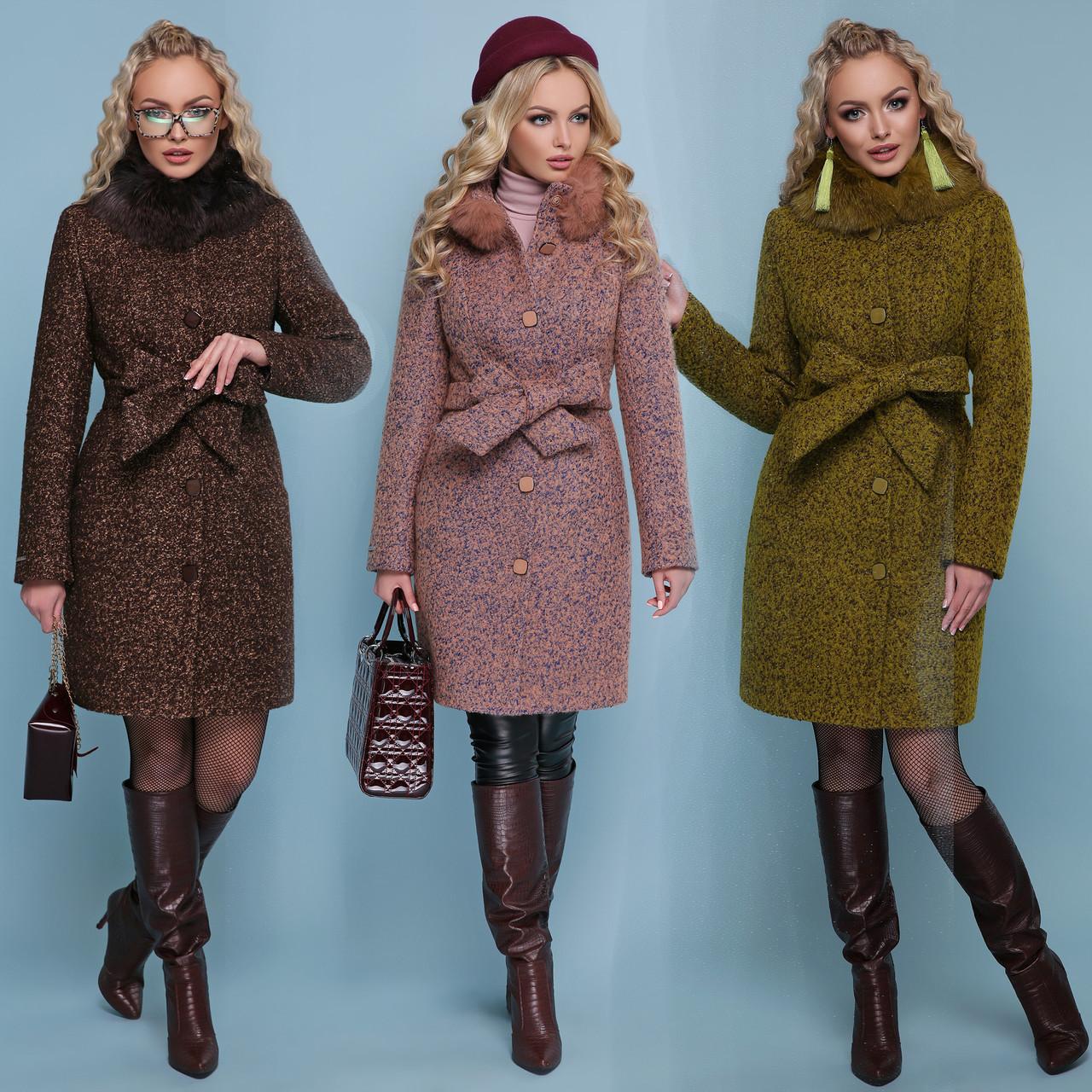 Купить Приталенное женское зимнее пальто с поясом и меховым ... 145de214e3fd3