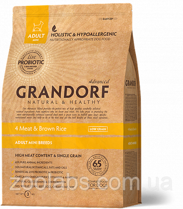 Корм Grandorf для собак мелких пород 4 мяса   Grandorf Probiotics 4 Meat & Rice Mini Breeds 1 кг, фото 2