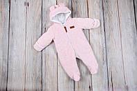 Велюровый комбинезон с утеплителем для новорожденных, цвет розовый, 0-3 мес, 3-6 мес, 6-9 мес, фото 1