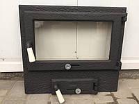 Дверца для печи, барбекю и камина 480*545 мм, дверца чугунная со стеклом