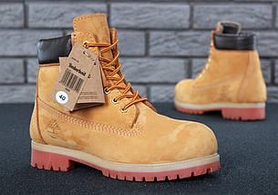 Мужские (женские) зимние ботинки Timberland 6 inch Yellow с натуральным мехом, фото 2