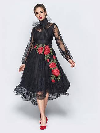 6cce6ca32fb8b9 Екстравагантне плаття вечірнє з трояндами гіпюр чорний розмір 44 46 48,  фото 2