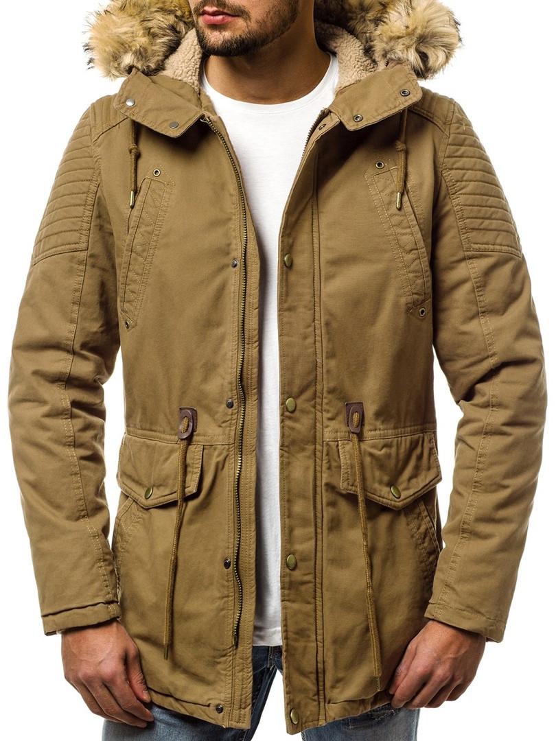 Мужская зимняя куртка J.Style горчичного цвета топ реплика