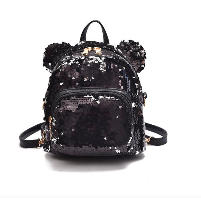 b74a8414c219 Купить Рюкзак женский сумку мишку с пайетками Чёрный недорого в ...