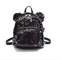 Рюкзак женский сумка мишка с пайетками Черный, фото 1