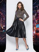 Комбіноване плаття зі спідницею-плісе з люрексу