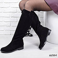 Сапоги женские Paris черные замша + мех , женская обувь