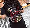 Рюкзак женский сумка мишка с пайетками Красный, фото 3