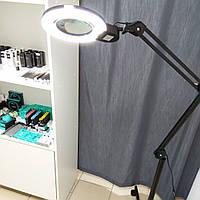Напольная светодиодная кольцевая лампа-лупа:, цвет черный, металлическая