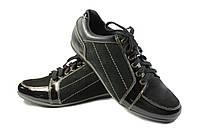 Кожаные мужские кроссовки черного цвета, фото 1