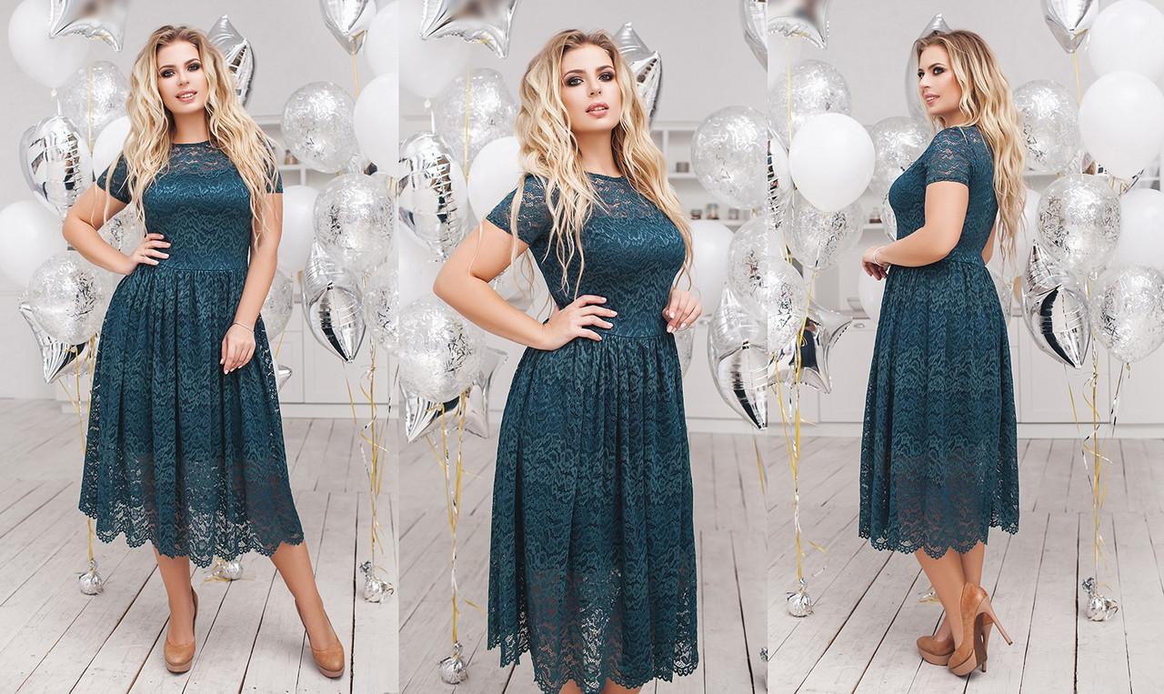 Платье БАТАЛ   гипюр в расцветках  702105