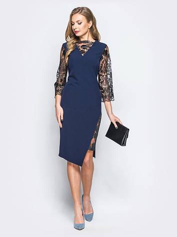 8a570c414bb Елегантне плаття з костюмної тканини з ажурними вставками і рукавами з  гіпюру синій розмір 44 46