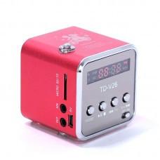 Мини портативная MP3 колонка от USB FM TD-V26 Red